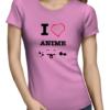 i love anime ladies tshirt pink