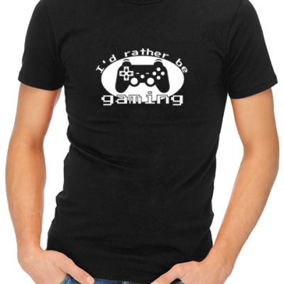 id rather be gaming mens tshirt black