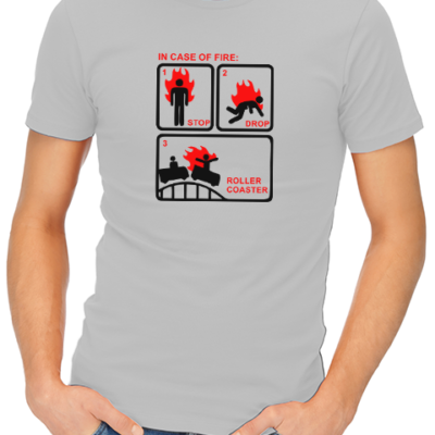 in case of fire mens tshirt grey