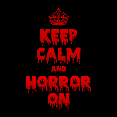 keep calm and horror on black square