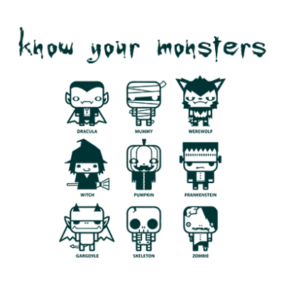 know your monsters white square
