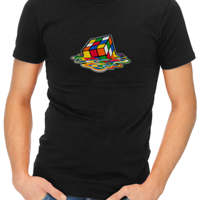 melting rubiks mens tshirt black