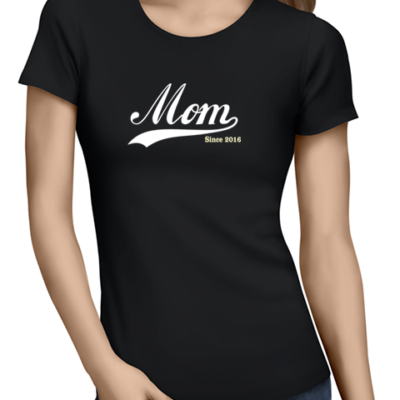 mom since ladies tshirt black