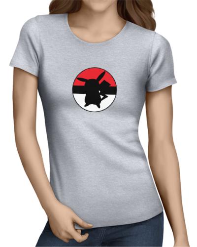 pikachu ball ladies tshirt grey