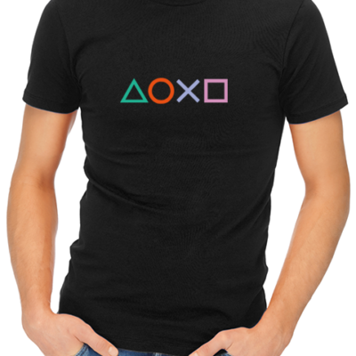 ps4 buttons mens tshirt black