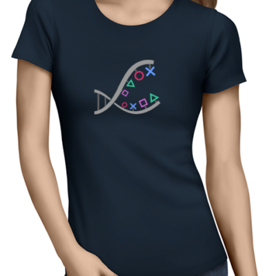 ps4 dna ladies tshirt navy