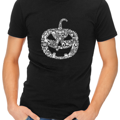 pumpkin face mens tshirt black