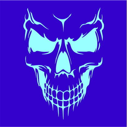 scary skull face blue square