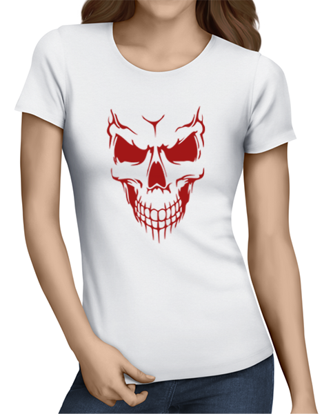 scary skull face ladies tshirt white