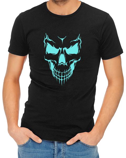 scary skull face mens tshirt black