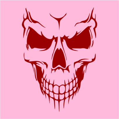 scary skull face pink square