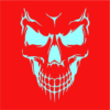 scary skull face red square