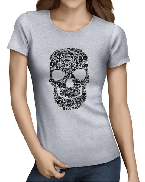 skull collage ladies tshirt grey