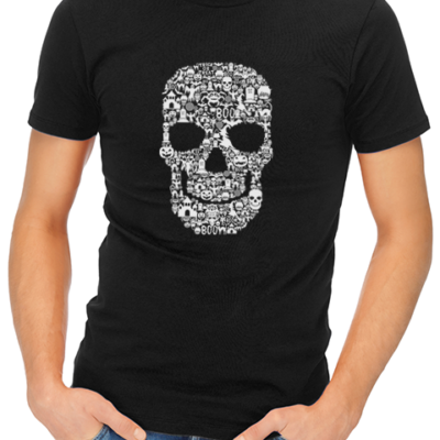 skull collage mens tshirt black