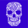 skull face collage blue square
