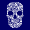 skull face collage navy square