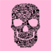 skull face collage pink square