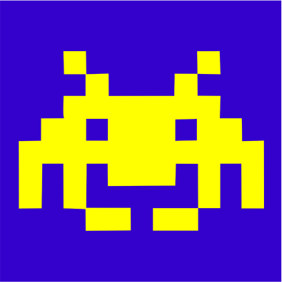 space invaders blue square