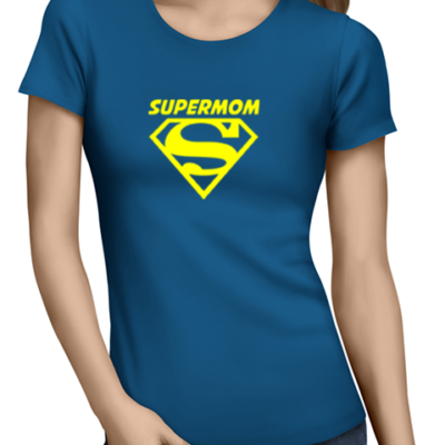 supermom ladies tshirt blue