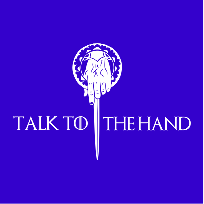 talk to the hand blue square