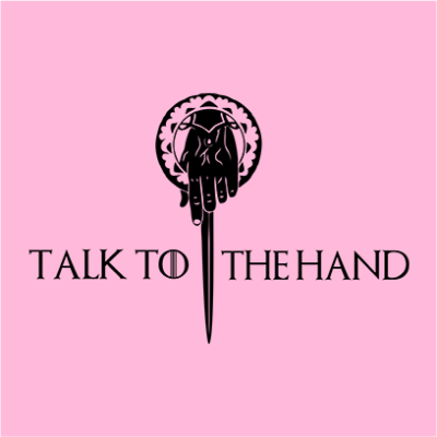 talk to the hand pink square