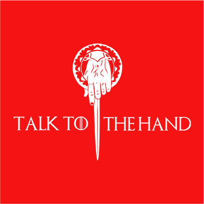 talk to the hand red square