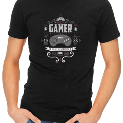 the mega gamer mens tshirt black