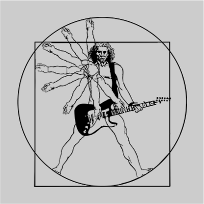 vitruvian guitar man grey square
