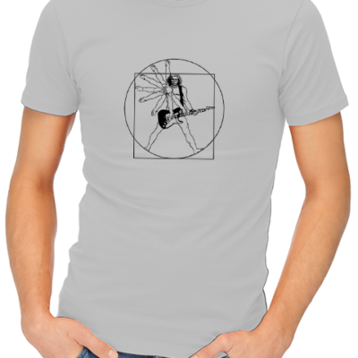 vitruvian guitar man mens tshirt grey