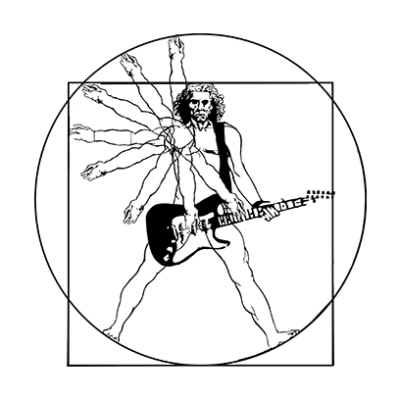 vitruvian guitar man white square