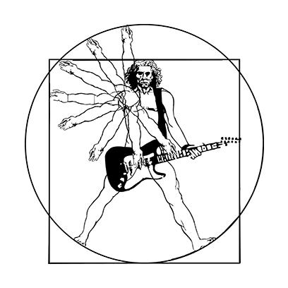 vitruvian guitar man white square