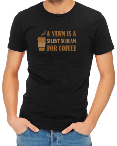 yawn for coffee mens tshirt black