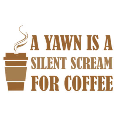 yawn for coffee white square
