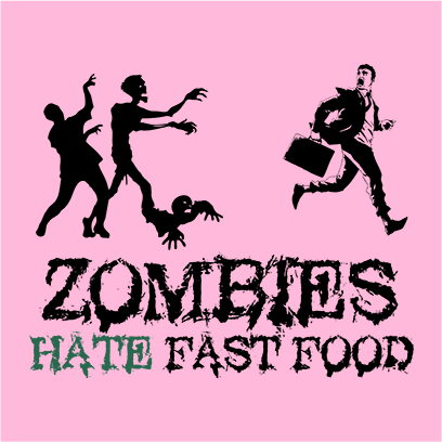 zombies hate fast food pink square