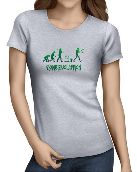 zombievolution ladies tshirt grey