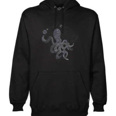 space octopus on black hoodie