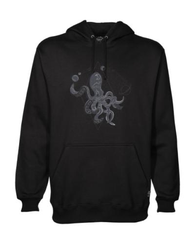 space octopus on black hoodie