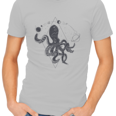 space octopus on mens grey shirt