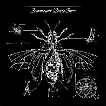 steampunk beatle gear black