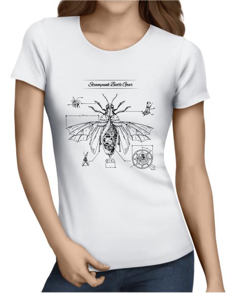 steampunk beatle gear ladies white shirt