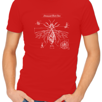steampunk beatle gear mens red shirt