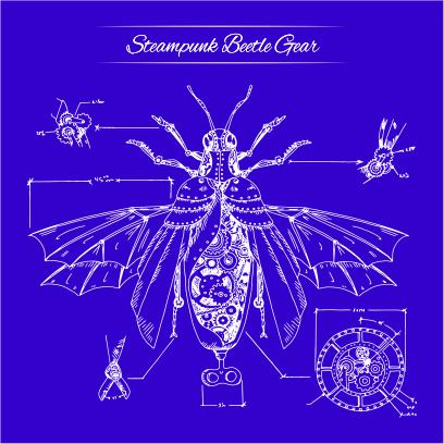 steampunk beatle gear royal blue
