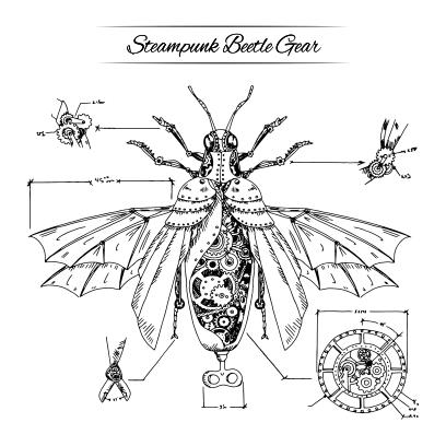 steampunk beatle gear white