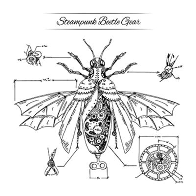 steampunk beetle white square