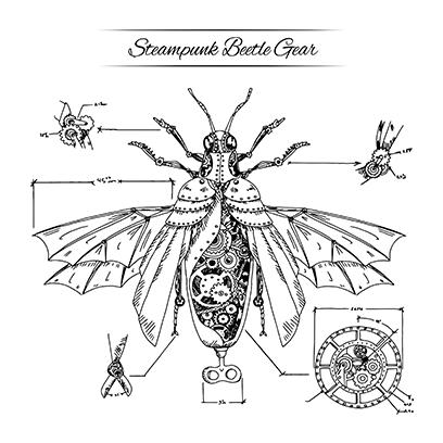 steampunk beetle white square