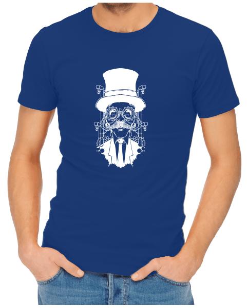 steampunk gentleman mens royal blue shirt
