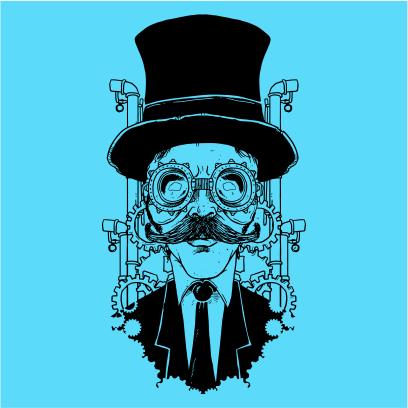 steampunk gentleman sky blue