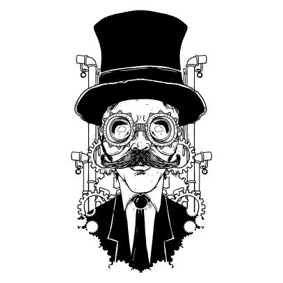 steampunk gentleman white