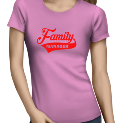 family manager on ladies light pink shirt