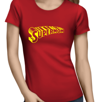 supermom 1 on ladies red shirt